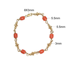 Beadsnice Gold Filled Bracelet with Red Coral Dainty Gift Handmade Jewelry 39751