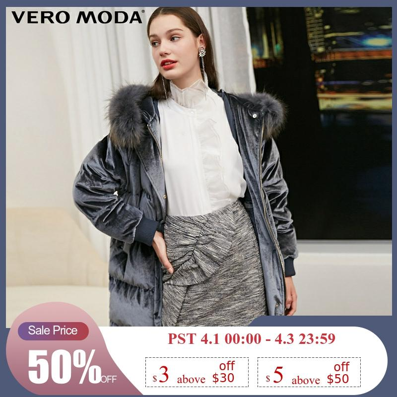 Vero Moda Women's New 80% White Duck Down Raccoon Fur Collar Detachable Down Jacket Parka Coat | 318412502