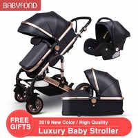 3 en 1 Cochecitos de bebé y cesta de dormir recién nacido 2 en 1 cochecito de bebé Europa cochecito de bebé un paquete con asiento de coche
