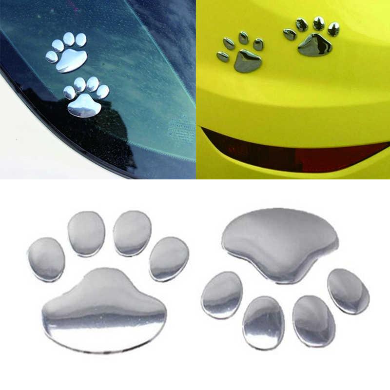 3D Animale Cane Gatto Impronte di Orso D'argento del Metallo Autoadesivo Dell'automobile Accessori Auto Tutto il Corpo Decal Car Styling Per Bmw Volkswagen audi
