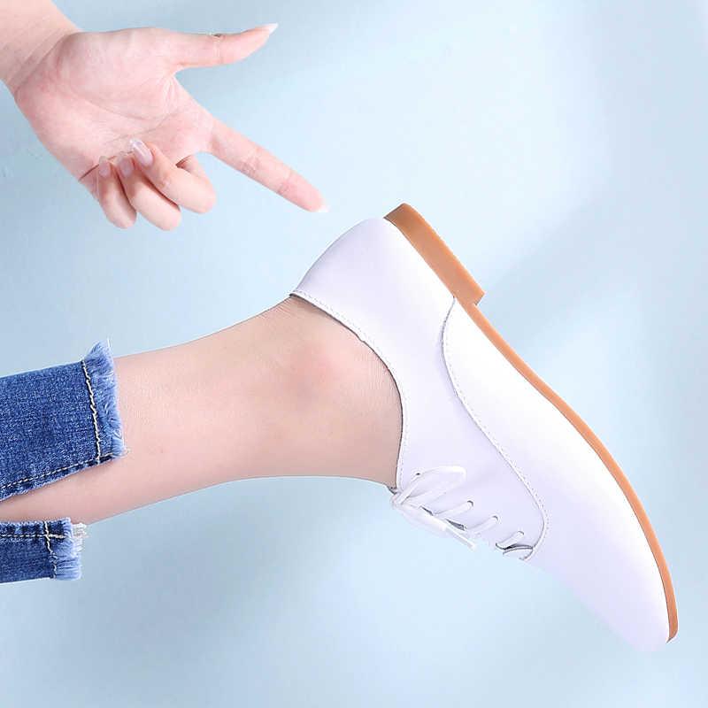 STQ 2020 bahar kadın Oxford ayakkabı balerin Flats ayakkabı kadın hakiki deri ayakkabı Moccasins dantel Up loafer'lar beyaz ayakkabı 051