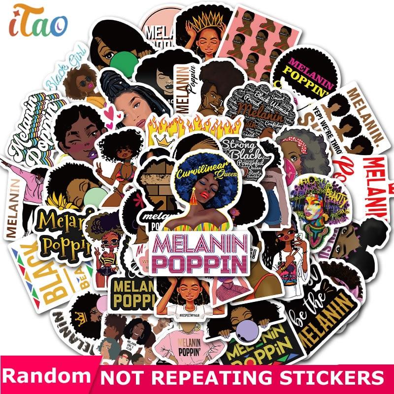 10/20/30/40/50PCS Pack Inspirational Black Girl Melanin Poppin Stickers Guitar Laptop Skateboard Phone Car Motorcycle Sticker