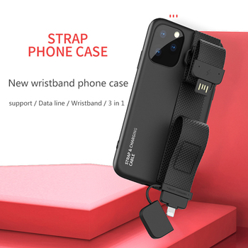 Mobile phone case with bracket Wrist phone case with data cable for iphone 7/7plus/8/8plus/X/XR/Xs MAX/11/11 pro/11 pro max