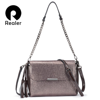 REALER genuine leather crossbody bags for women handbags female shoulder messenger bags small totes high quality top-handle bag цена 2017