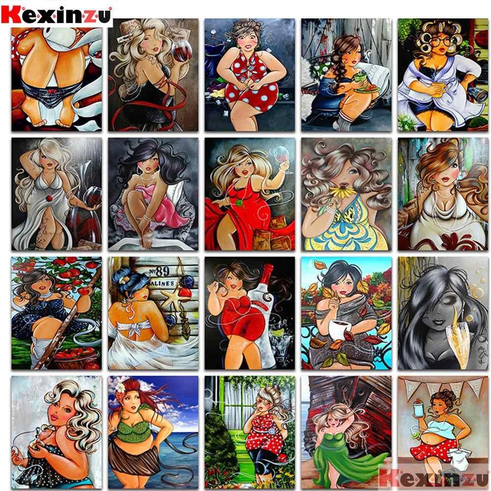 """KEXINZU plein carré/rond 5D bricolage diamant broderie """"Cartoon woman"""" diamant peinture point de croix strass 3D décor Y44"""