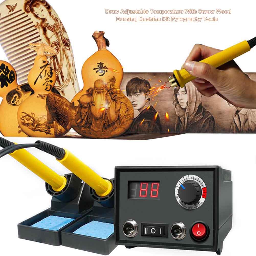 Инструменты для пирографии многофункциональная ручная машина для сжигания дерева набор Регулируемая температура ручка Тыква ремесла кожа гравер|Электрические паяльники|   | АлиЭкспресс