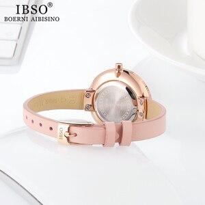 Image 5 - IBSO kobiety zegarek kwarcowy proste wodoodporny zegar godzin moda Montre Femme panie skóra Quartz zegarek wodoodporny
