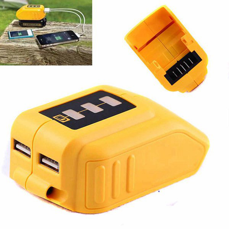 Promotion--USB Converter Charger For DEWALT 14.4V 18V 20V Li-ion Battery Converter <font><b>DCB090</b></font> USB Device Charging Adapter Power Supp image