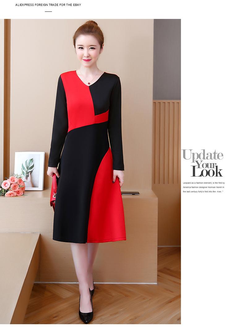 US $14.14 Farbe blockiert Lange Kleid Frauen Plus Langarm V ausschnitt  Kleider Herbst Vintage Elegante Vestidos Schwarz Blau 14 on AliExpress