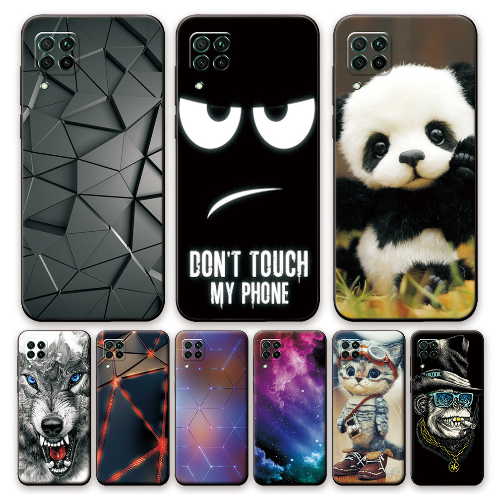 For Huawei P40 Lite Case Silicone Soft TPU Phone Cases For Huawei P40 Lite P 40 Lite Cool Black Back Cover For Huawei P40 Lite