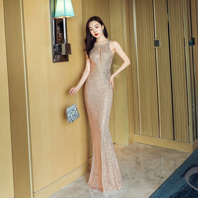 YIDINGZS See-through Sexy Long Formal Party Dress Off-shoulder Silver Sequins Evening Dress YD16363 4