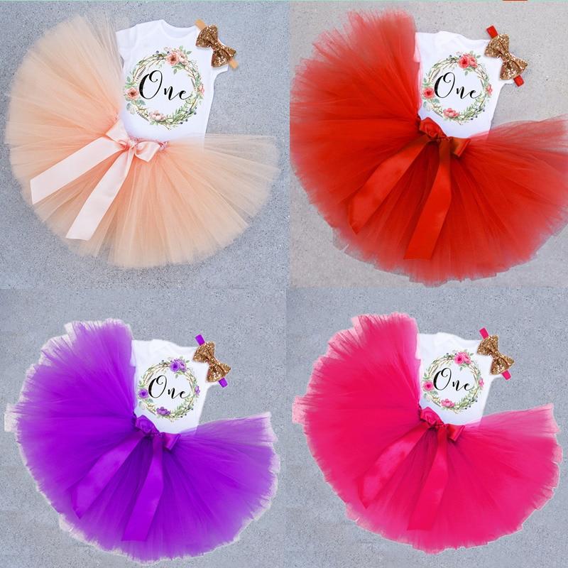 12 miesięcy dziewczynek różowy tiul Tutu sukienka urodziny 3 sztuk zestaw na 1 urodziny Tollder dziewczyna list drukuj stroje 1 rok życia