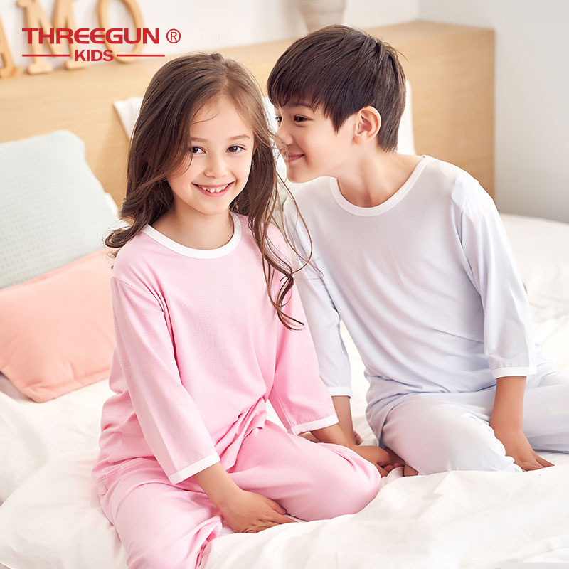 THREEGUN KIDS Pajamas For Children Boys Girls Summer Modal Smooth Homewear Nightwear Sets Short Sleeve T-shirt + Cropped Pants