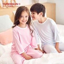 THREEGUN ชุดนอนเด็กสำหรับเด็กเด็กผู้หญิงฤดูร้อน Modal Smooth Homewear ชุดนอนชุดแขนสั้นเสื้อยืด + กางเกง