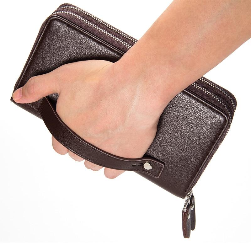 2019 Baellerry Men Clutch Wallets PU Leather Large Capacity Zipper Hand Strap Men Wallet Luxurious Business Solid Male Purses