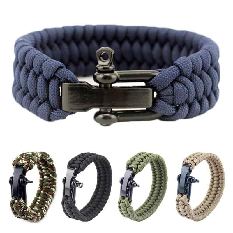Outdoor Camping Emergency Survival Bracelet Rope Rescue 7 Strand Parachute Cord Adjustable Emergency Survival Bracelet