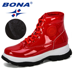 Image 5 - BONA 2019 חדש מעצב אופנה נעלי נשים חורף מגפי אלסטית פטנט עור קרסול מגפי גבירותיי עקב נמוך מגפי נעליים סקסיות