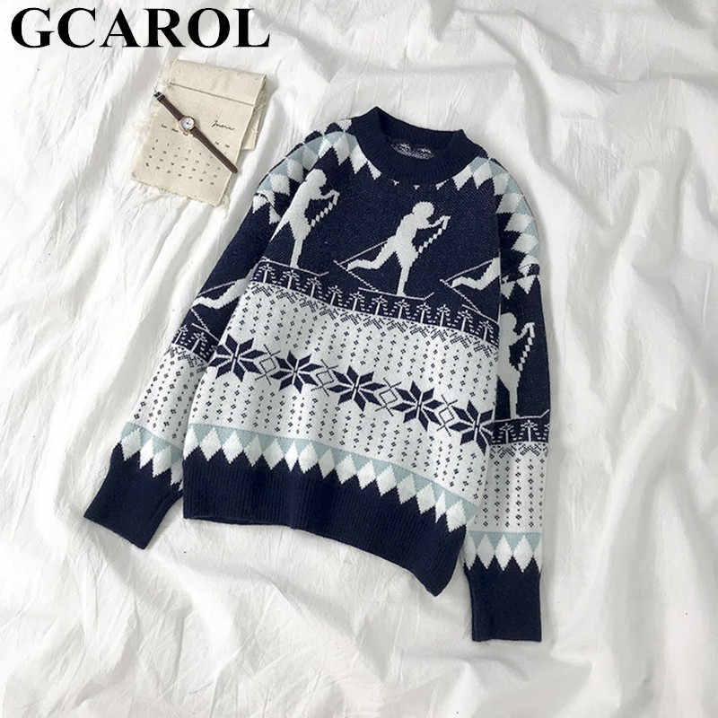 GCAROL Christmas Series Snow Geometric เสื้อกันหนาวขนาดใหญ่หนาถักจัมเปอร์ฤดูใบไม้ร่วงฤดูหนาว Chic Streetwear JERSEY