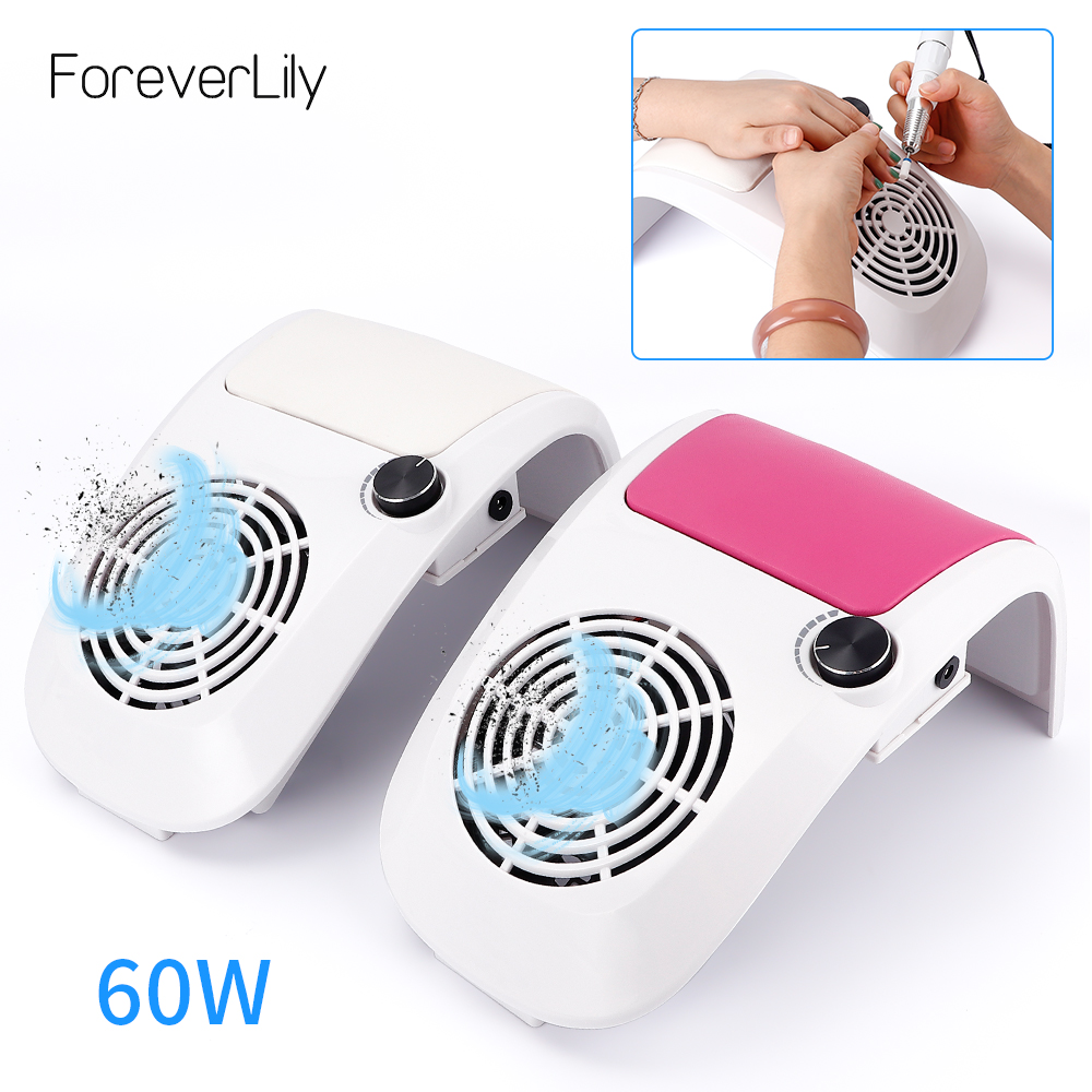 60W Powerful Nail Dust Suction Collector Vacuum Cleaner With 2 Dust Collecting Bag Strong Fan Nail Art Equipment Nail Salon Tool