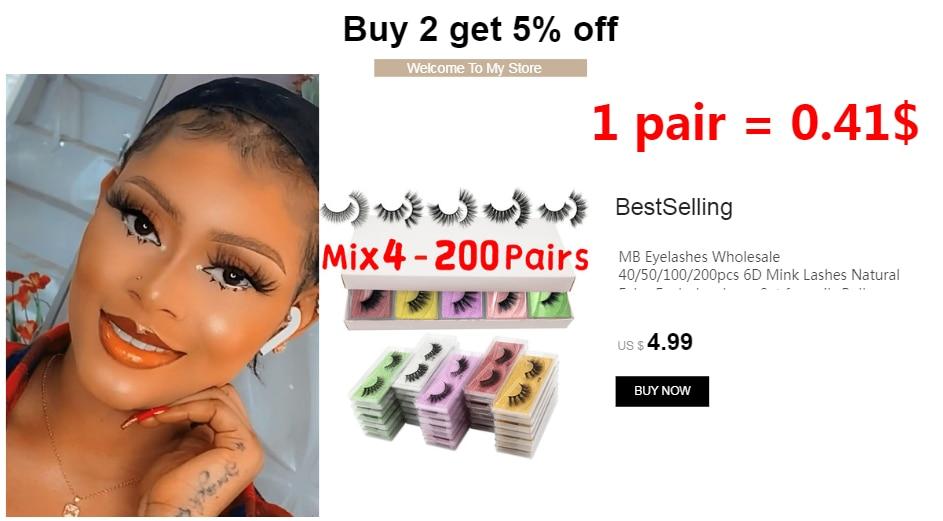 H0e8cb8bd04884b5b87043686280d59abM - MB Eyelashes Wholesale 40/50/100/200pcs 6D Mink Lashes Natural False Eyelashes Long Set faux cils Bulk Makeup wholesale lashes