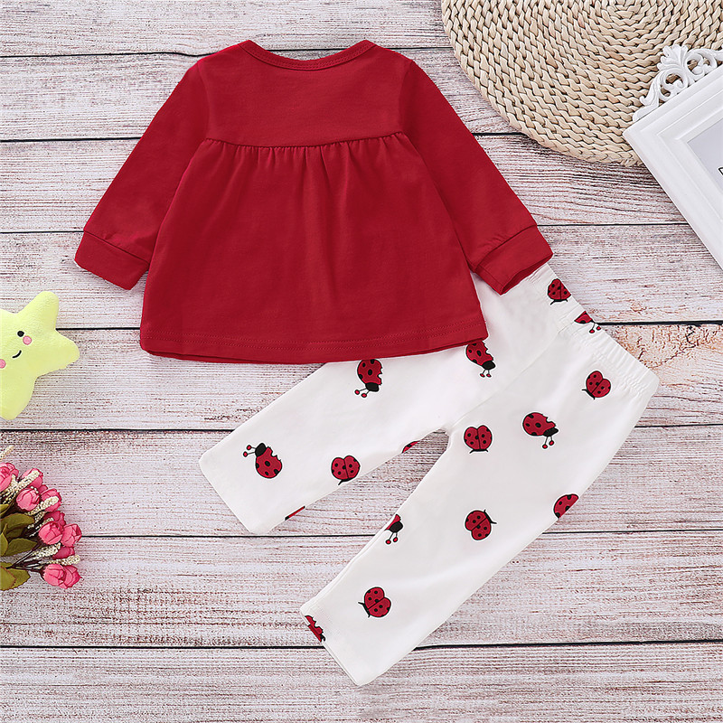 2Pcs Baby Girl Clothes Set Autumn Clothes For Newborn Girls Cartoon Ladybug Print Tops White Pants 0 2T Breathable Kids Sets D30 in Clothing Sets from Mother Kids