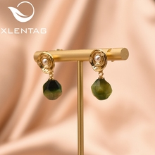 XlentAg Natural Green Stone White Freshwater Pearl Earrings For Women 925 Silver Dangle Brincos Prata Jewelry GE0103B