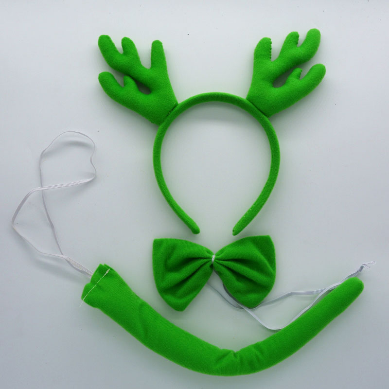Детская повязка на голову с ушками животных для мальчиков и девочек; комплект с галстуком-бабочкой и хвостом для детей и взрослых; карнавальный костюм; вечерние аксессуары для волос - Цвет: 28