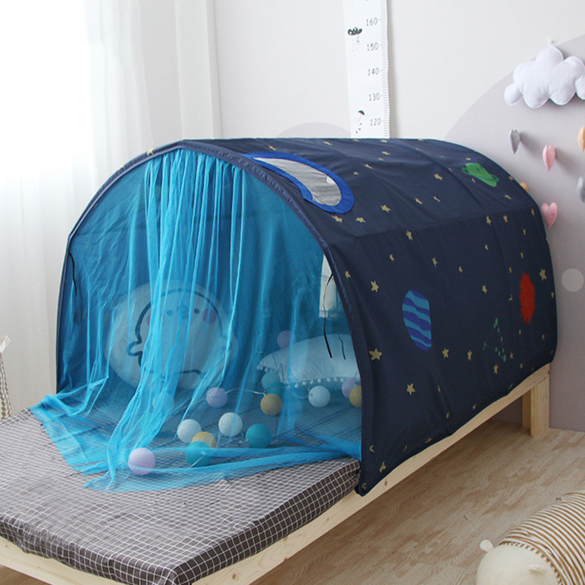 Children Bed Tent Game House Indoor Tent Toy Room With Children Crawling Tunnel Children House With Mosquito Net And Storage Bag