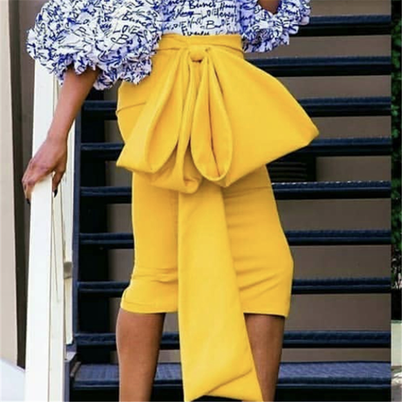 Women Yellow Skirts High Waist With Big Bowtie Slim Modest Classy Female Package Hip Jupes Falad Office Elegant Summer Fashion