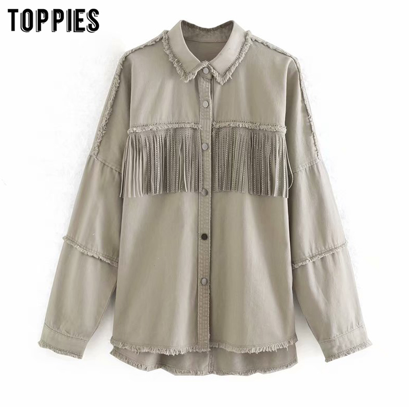 Womens Denim Jackets Tassels Breasted Vintage Jeans Coat 2020 Spring Clothes Chaqueta Mujer