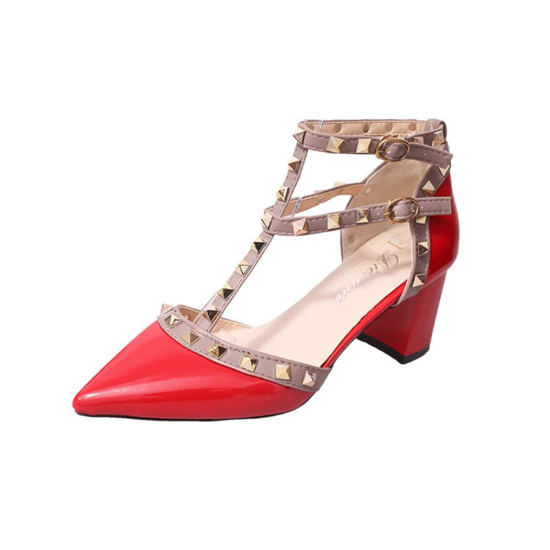 QSR Pumps Women 2020 summer new pointed patent leather rivet buckle sandals thick with heel wild thin women's shoes
