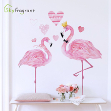 pink ins flamingo wall sticker net red girl room decoration bedroom stickers living room sofa background wall decor home decor