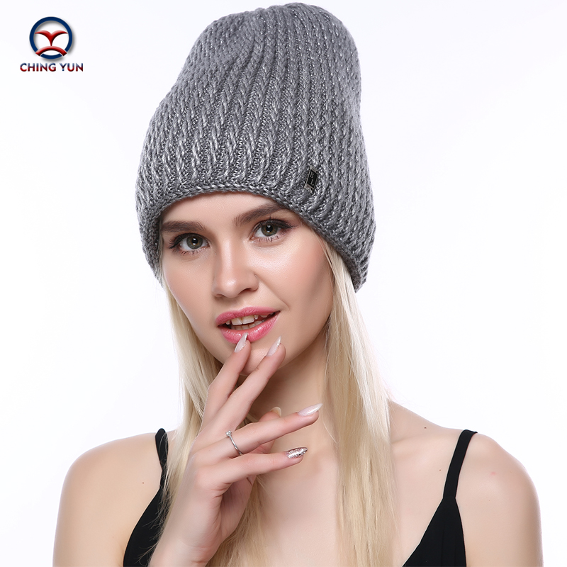 CHINGYUN Women Winter Warm Hat Knit Hat New Soft Thick Warm Pattern High Quality Female Knitted Metal Accessories Hat A19-23