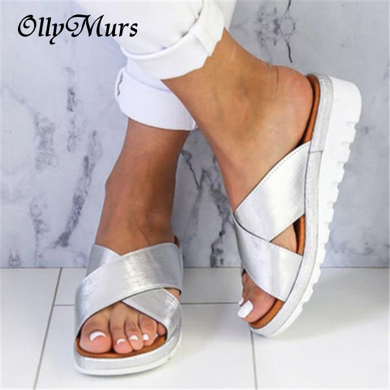 OllyMurs Sexy Gold Silver Sandals Summer Women Slippers Open Toe Platform Shoes Ladies Outdoor Beach Flip Flops Female Slides