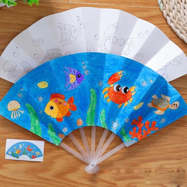 21cm Painting Summer Fan DIY Toys For Children Cartoon Animal Color Graffiti Origami Fan Art Craft Toy Creative Drawing Kids