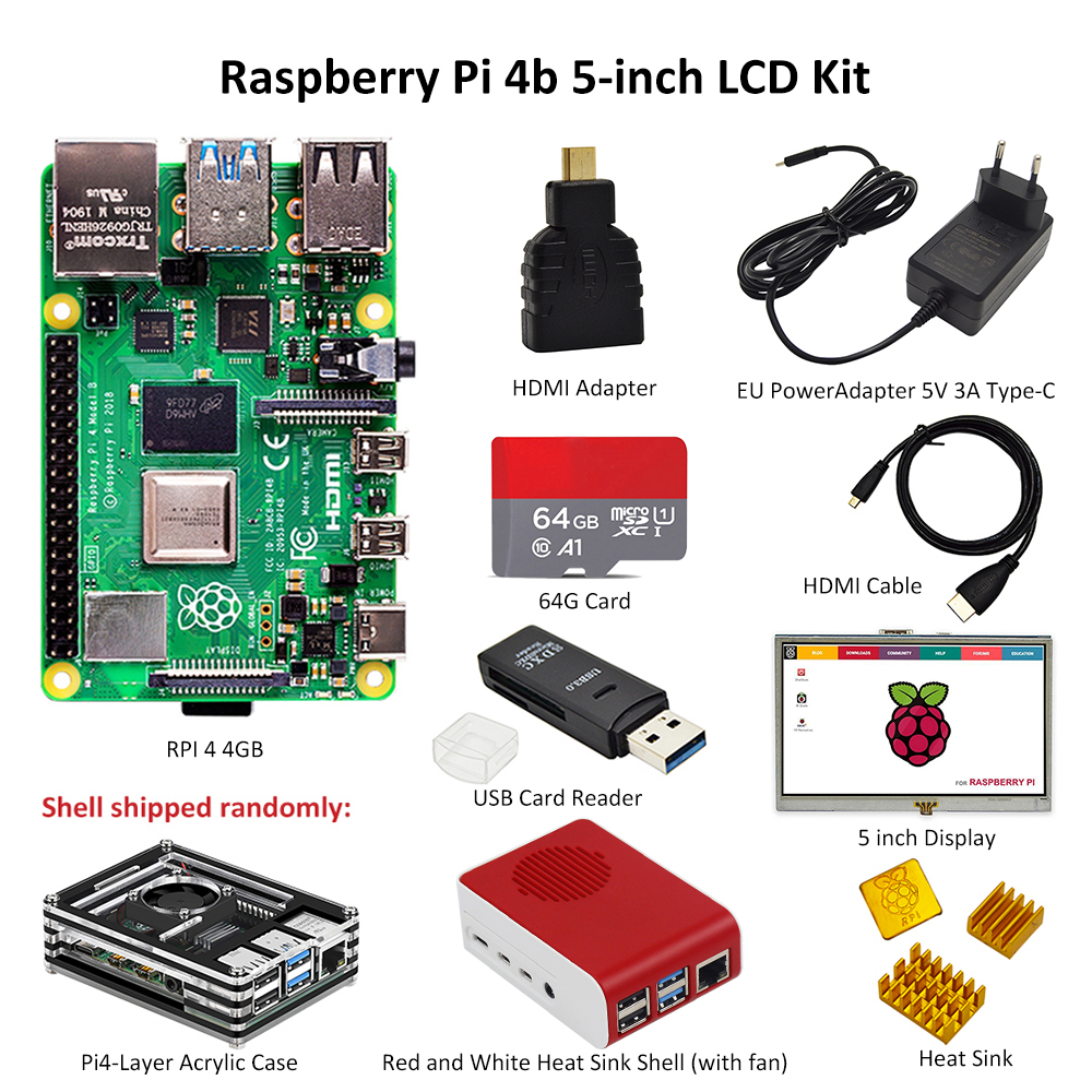 Raspberry Pi 4 Model B Kit With 5-inch Display PI 4B 2GB/4GB : Board+Heat Sink+Power Adapter+Case +32/64GB TF Card+HDMI Cable