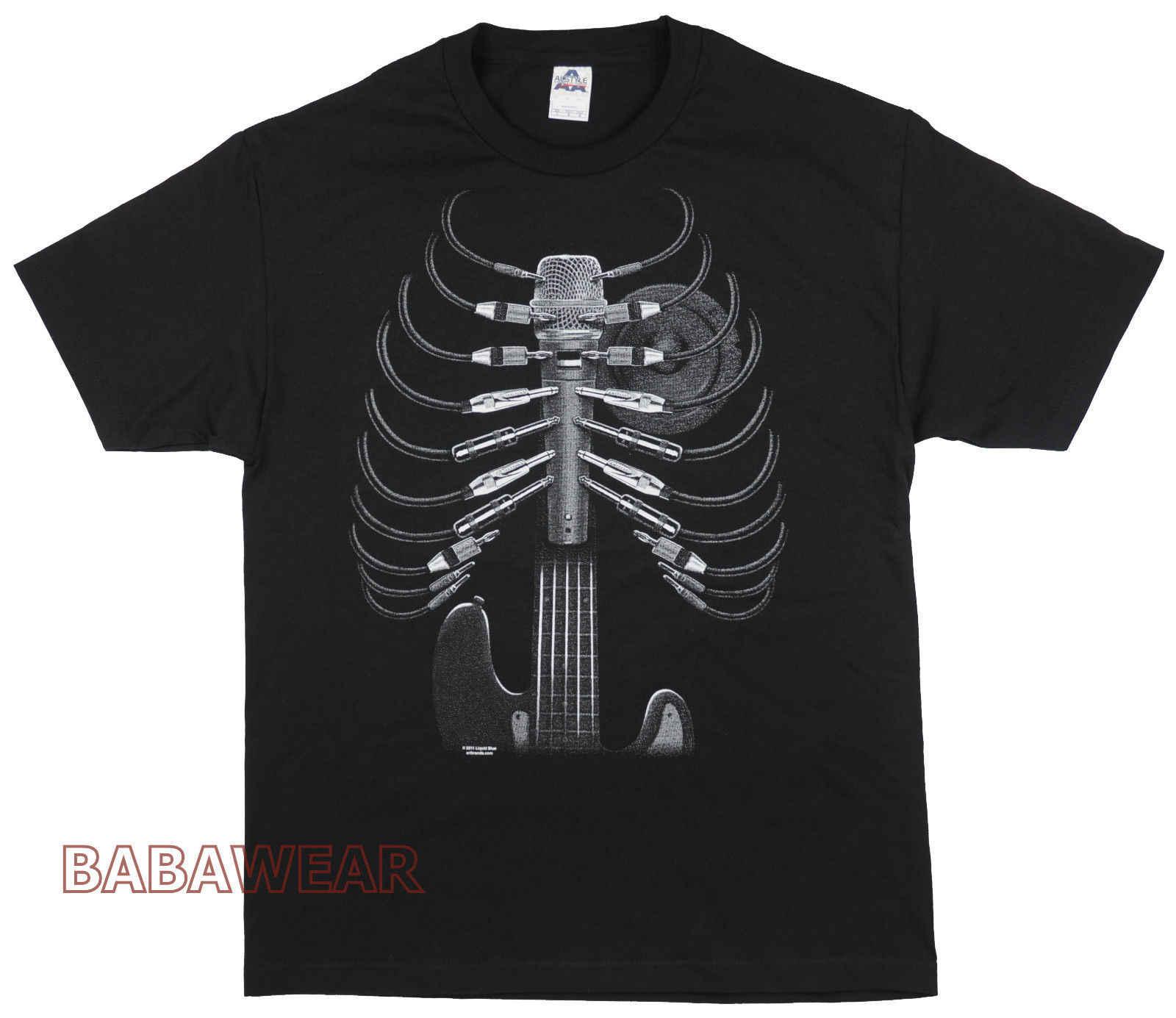 2020 ファッション夏スタイルの音楽スタッフ Amped Tシャツ黒ワイヤー胸郭ギターマイクスピーカーハート馬場 Tシャツシャツ