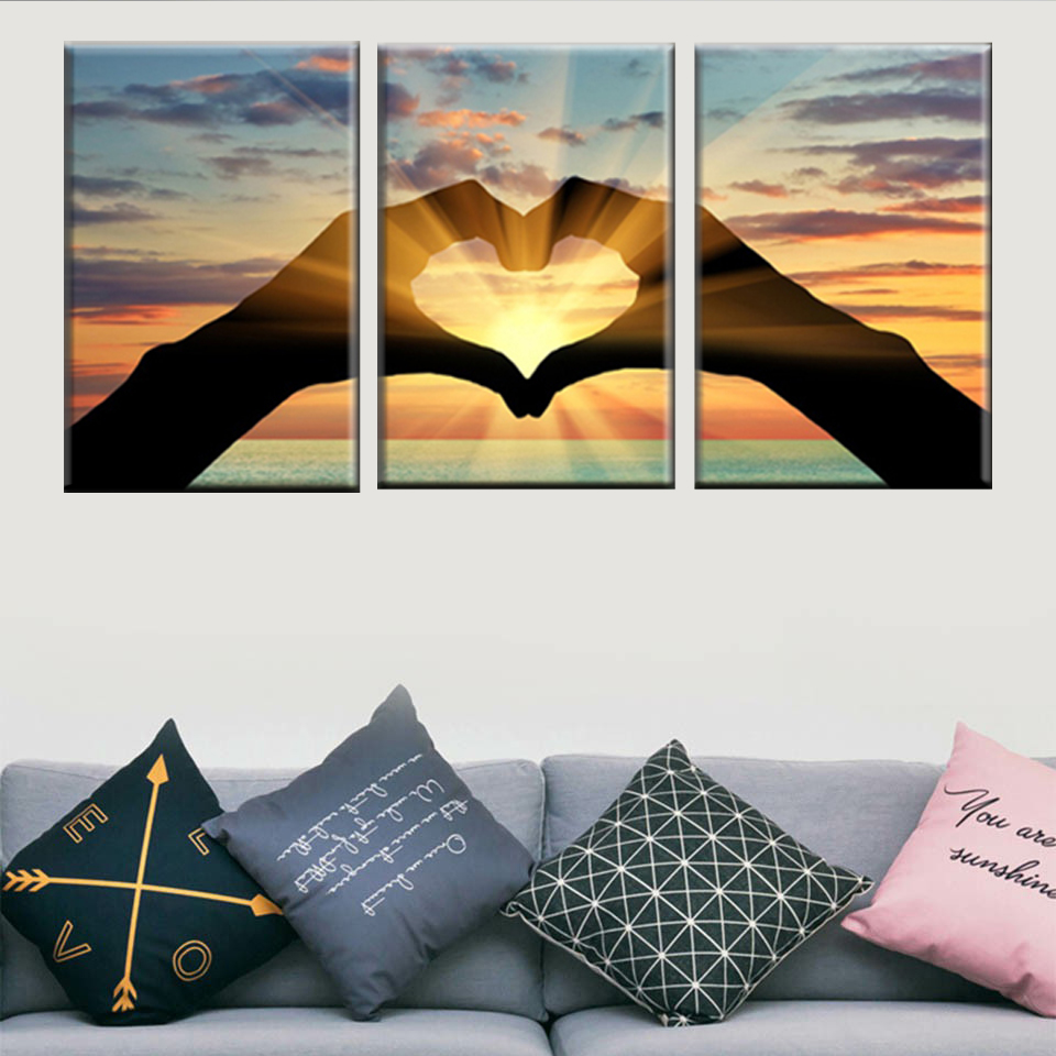 Canvas Print Picture Modular Wall Art Abstract Background Poster 3 Piece Ocean Heart Shape Landscape Painting Home Decor Frame image