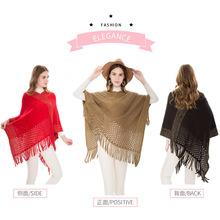 Hollowed out winter warmth plus-size sweater new imitation cashmere silk fringe pullover cape