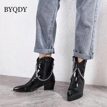 Женские ботинки из лакированной кожи byqdy ботильоны на металлической