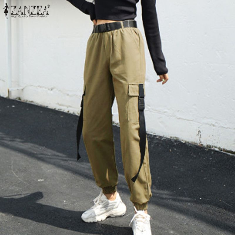Women's Casual Overalls Trousers ZANZEA 2020 Spring Pants Pantalon Female Pockets Streetwear High Waist Cargo Turnip Plus Size