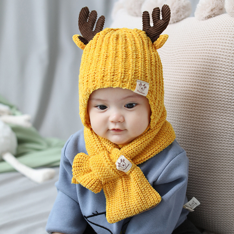 New Knitted Baby Antlers Hat Scarf Set Cartoon Autumn Winter  Warm Soft Cute  Hat Beanie Set For 8 Month-3 Years