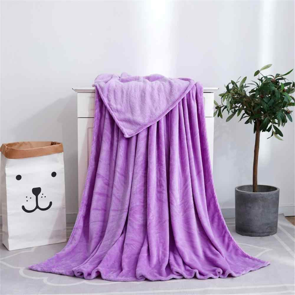 Primavera/verão cobertor cor sólida coral velo cobertor cama super macio flanela folhas jogar sofá toalha colcha 50x70cm @ c