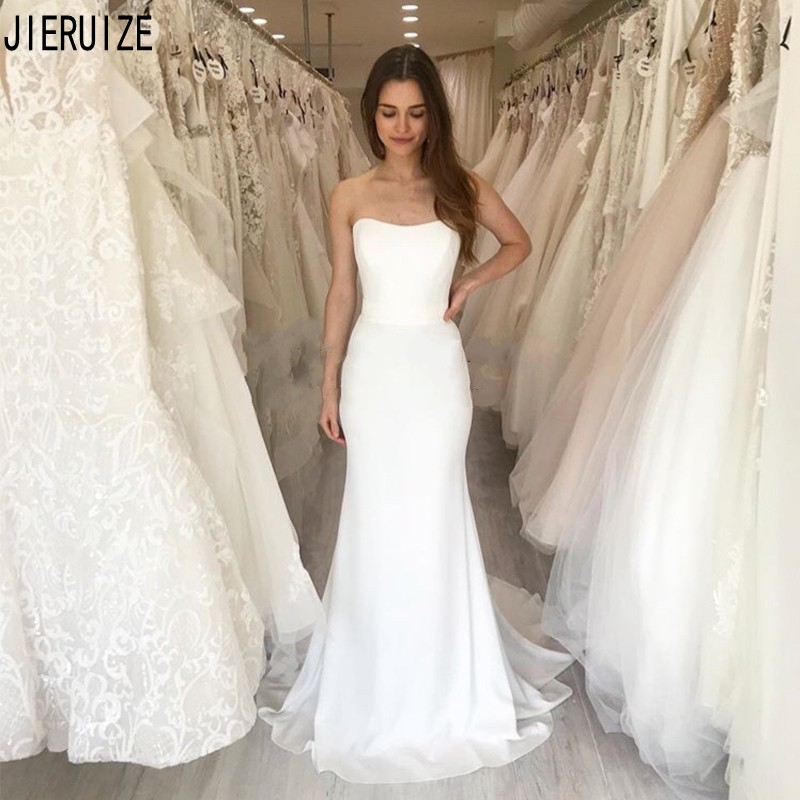 JIERUIZE White Strapless Mermaid Wedding Dresses Simple Sleeveless Bridal Gowns Backless Long Wedding Gowns Vestido De Noiva