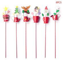 6pcs/set Creative Christmas Decoration Painted Art Santa Claus Kettle Bucket Insert Xmas Tree Ornaments vintage christmas lace insert santa claus print dress
