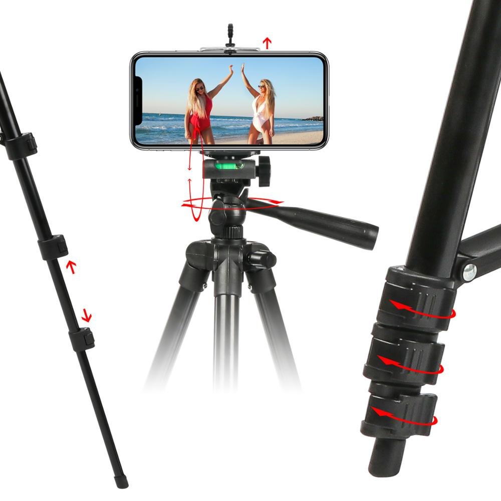 105cm Portable Professional Adjustable Rotatable Retractable Aluminum Camera Tripod Stand Holder Nylon Carry Bag for iPhone Samsung Smartphone Four Floor high Phone Holder