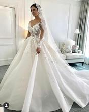 Eslieb ثوب حفلة ثلاثية الأبعاد زهرة الدانتيل اللؤلؤ فستان الزفاف 2020 فساتين الزفاف