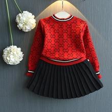 Г., комплект зимней одежды для девочек, свитер с длинными рукавами, рубашка и юбка комплект одежды из 2 предметов весенняя одежда для детей, одежда для девочек