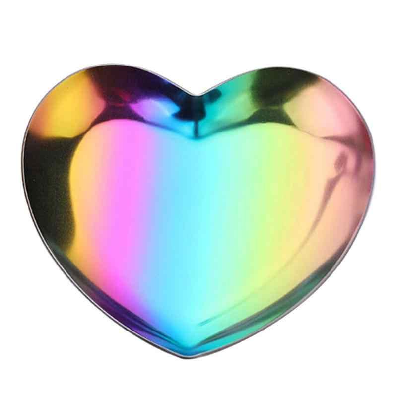 เครื่องประดับตกแต่งบ้านผลไม้ถาดตกแต่งสแตนเลสรูปหัวใจถาดโลหะรูปหัวใจถาดเครื่องประดับ