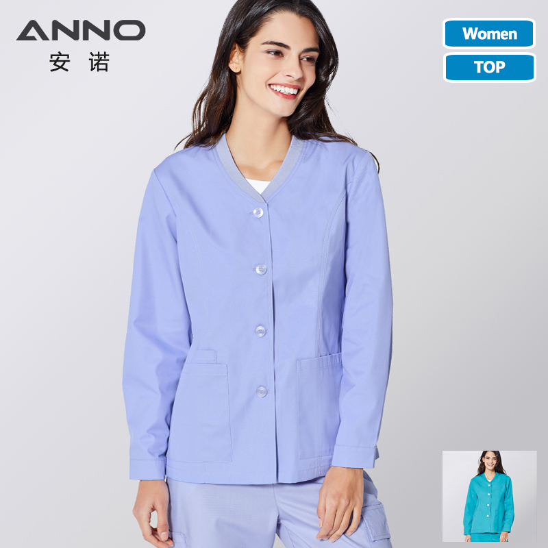 ANNO Winter Medical Scrubs Jacket Long Sleeve Outfit Nurse Out Coat Doctor Shirt Hospital Out Wear Jacket Shirt
